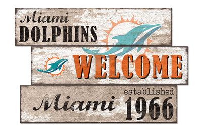 Miami Dolphins Welcome 3 Plank Wood Sign