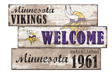 Minnesota Vikings Welcome 3 Plank Wood Sign