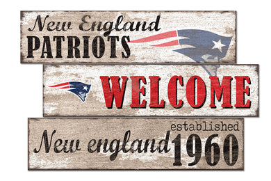 New England Patriots Welcome 3 Plank Wood Sign