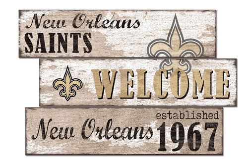 New Orleans Saints Welcome 3 Plank Wood Sign