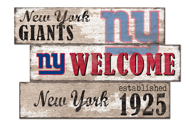 New York Giants Welcome 3 Plank Wood Sign