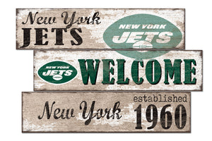 New York Jets Welcome 3 Plank Wood Sign