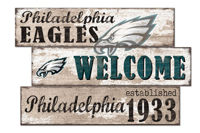 Philadelphia Eagles Welcome 3 Plank Wood Sign