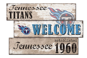 Tennessee Titans Welcome 3 Plank Wood Sign