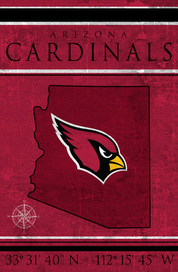 Arizona Cardinals Coordinates Wood Sign