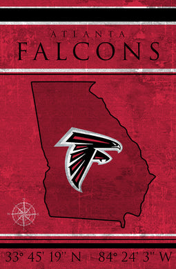 Atlanta Falcons Coordinates Wood Sign