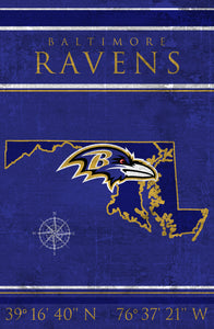 Baltimore Ravens Coordinates Wood Sign