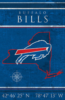 Buffalo Bills Coordinates Wood Sign