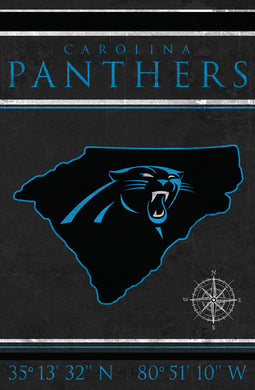 Carolina Panthers Coordinates Wood Sign