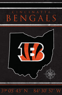 Cincinnati Bengals Coordinates Wood Sign