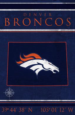 Denver Broncos Coordinates Wood Sign