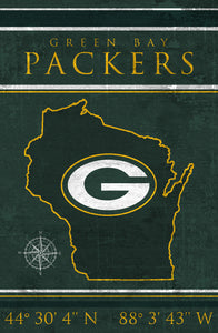 Green Bay Packers Coordinates Wood Sign