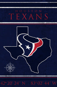 Houston Texans Coordinates Wood Sign