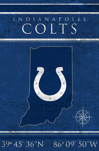 Indianapolis Colts Coordinates Wood Sign
