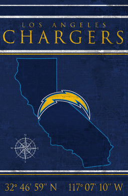 Angeles Chargers Coordinates Wood Sign