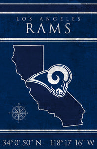 Los Angeles Rams Coordinates Wood Sign