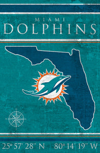 Miami Dolphins Coordinates Wood Sign