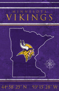 Minnesota Vikings Coordinates Wood Sign