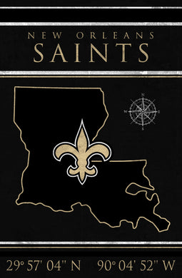 New Orleans Saints Coordinates Wood Sign