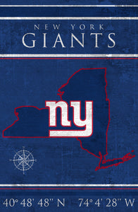 New York Giants Coordinates Wood Sign