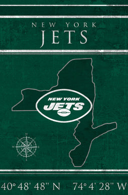 New York Jets Coordinates Wood Sign
