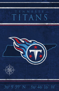 Tennessee Titans Coordinates Wood Sign