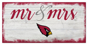 "Arizona Cardinals Mr. & Mrs. Script Wood Sign - 6""x12"""