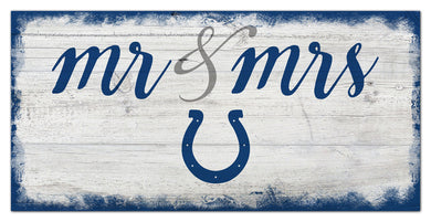 Indianapolis Colts Mr. & Mrs. Script Wood Sign - 6