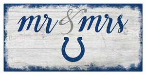 "Indianapolis Colts Mr. & Mrs. Script Wood Sign - 6""x12"""