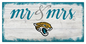 "Jacksonville Jaguars Mr. & Mrs. Script Wood Sign - 6""x12"""
