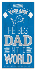 "Detroit Lions Best Dad Wood Sign - 6""x12"""