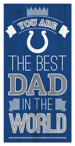 "Indianapolis Colts Best Dad Wood Sign - 6""x12"""