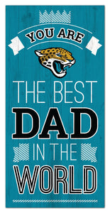 "Jacksonville Jaguars Best Dad Wood Sign - 6""x12"""