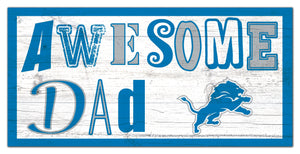 "Detroit Lions Awesome Dad Wood Sign - 6""x12"""