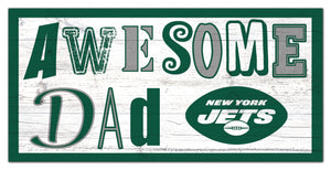 "New York Jets Awesome Dad Wood Sign - 6""x12"""