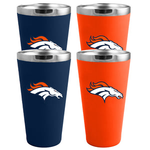 Denver Broncos 4-Pack Matte Color Stainless Steel Pint Glass Set
