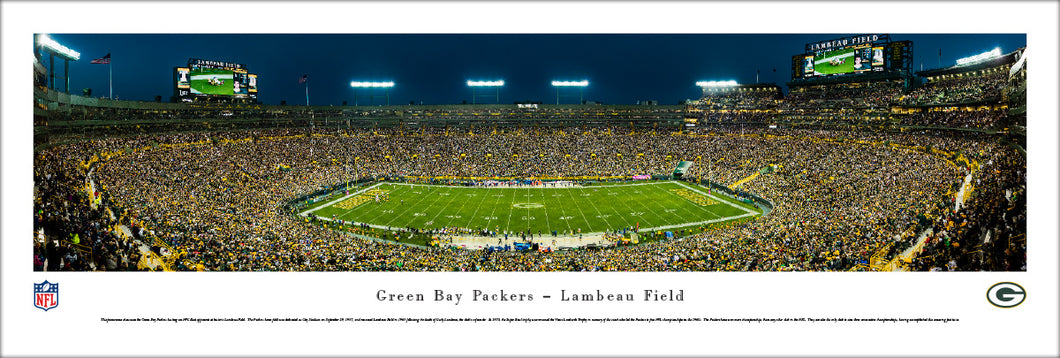 Green Bay Packers Lambeau Field Night Game Panoramic Picture