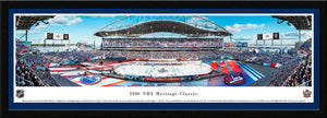 NHL fan gear black framed blue matte panorama 2016 Heritage Classic Oilers vs. Jets - Sports Fanz