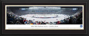 Framed double black matte panorama 2014 Stadium Series Blackhawks vs. Penguins - Sports Fanz