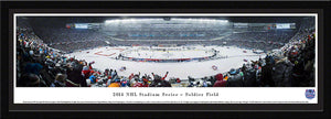 NHL fan gear framed black matte panorama 2014 Stadium Series Blackhawks vs. Penguins - Sports Fanz