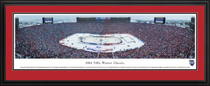 Framed, double red matte panorama 2014 Winter Classic Maple Leafs vs. Red Wings - Sports Fanz