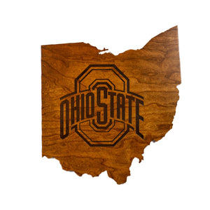 Ohio State - Wall Hanging - State Map - Athletic Logo - Large Size