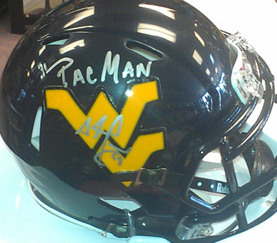 wvu football, adam pac man jones signed wvu mini helmet