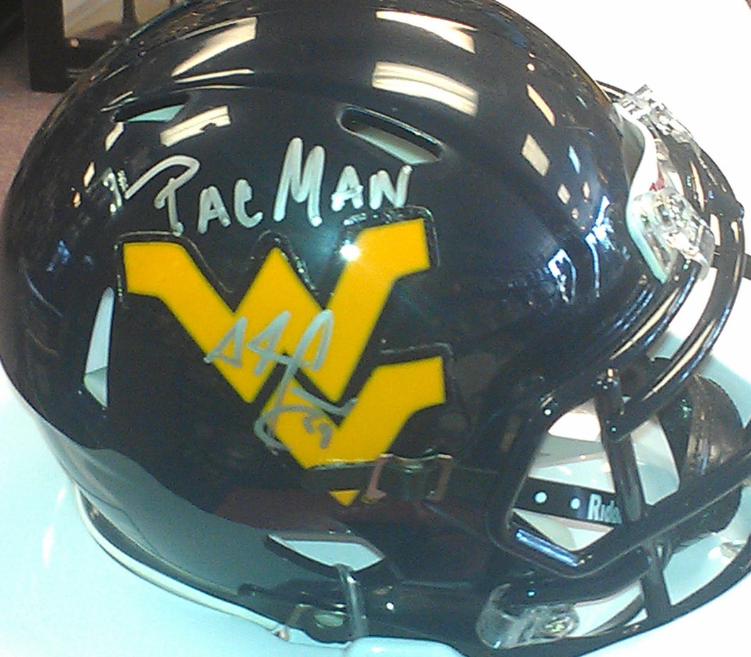 Football memorabilia Adam Jones WVU signed mini helmet from Sports Fanz