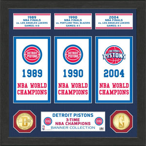 Detroit Pistons Banner Bronze Coin Photo Mint