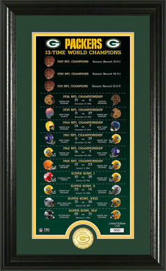 Green Bay Packers 13-Time World Champions Legacy Bronze Coin Photo Mint