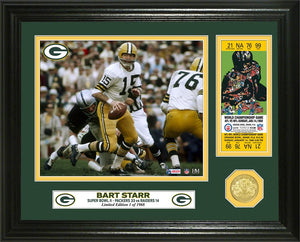 Bart Starr Green Bay Packers Super Bowl 2 Champion Ticket Bronze Coin Photo Mint
