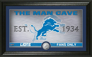 Detroit Lions Man Cave Panoramic Minted Coin Photo Mint