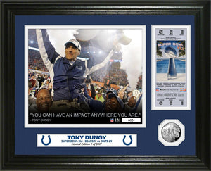 Tony Dungy Super Bowl 41 Ticket Silver Coin Photo Mint