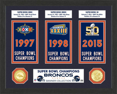 Denver Broncos Super Bowl Banner Collection Photo Mint